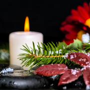 Evergreen branches with drops, leaves,  snow, candles and chrysanthemum on ze Stock Photos