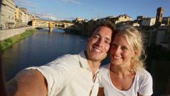 Selfie happy couple selfies photo in Florence - Romantic woman and man in love Stock Footage