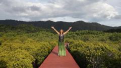 Sun Salutation Sequence (Surya Namaskar A) Yoga routine sequence beautiful girl Stock Footage