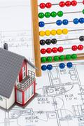 house, abacus, plan - stock photo