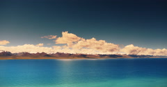 4k timelapse huge clouds mass over snow mountain,sunrise reflection lake namtso Stock Footage