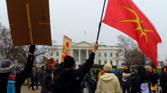 (Clip 2 of 2) American Indians protest Keystone XL Pipeline - stock footage
