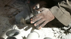 hands of a master, making the ceramic jug - stock footage