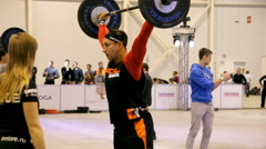 Athletes during the International crossfit competition. Stock Footage