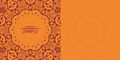 Henna orange antique banner template. Mehndi inspired tribal invitation card - stock illustration