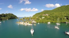 Stock Video Footage of Aerial footage of yachts at anchor Marigot Bay St Lucia