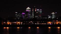 Stock Video Footage of Canary Wharf bokeh