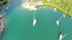 Aerial footage of yachts at anchor Marigot Bay St Lucia Stock Footage