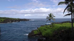 Beautiful Ocean Shoreline Scenery in Maui Hawaii Arkistovideo