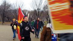 (Clip 1 of 2) American Indians protest Keystone XL Pipeline  - stock footage