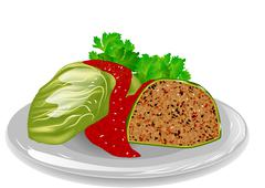 cabbage roll - stock illustration
