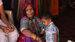 INDIA, GOA - 2012: Poor Indian family - stock footage