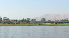 Nile river landscape - view from boat Stock Footage