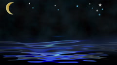 Moon, stars and water animated Stock Footage