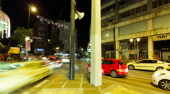 4K pan timelapse people pedestrians traffic downtown center Athens Greece - stock footage
