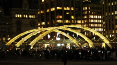 Ice Rink at Nathan Phillip's Square Toronto with festive holiday lights Stock Footage