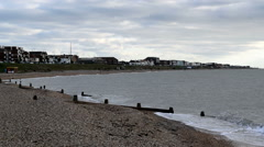 Lee-on-the-Solent beach view towards the town. Groynes are visible on the beach Stock Footage