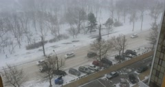 ODESSA - DECEMBER 29: Hard snow storm in the city with traffic jams on the Stock Footage