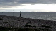 Stoney beach at Lee-on-the-Solent looking out to sea at the Isle of Wight Stock Footage