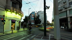 4K pan timelapse people pedestrians traffic downtown center Athens Greece Stock Footage