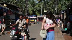 INDIA, GOA - 2012: Movement in the market in India Palolem Beach in Goa Stock Footage