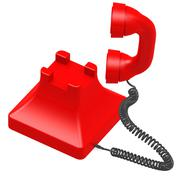 red dial phone - stock illustration
