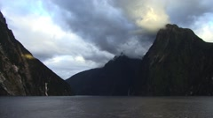 New Zealand Mountains Milford Sound Stock Footage
