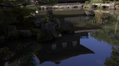 Silver Pavilion and Pond at Ginkakuji in Kyoto, Japan Stock Footage