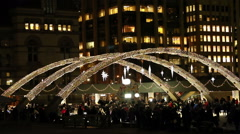 Ice Rink at Nathan Phillip's Square Toronto at night Stock Footage