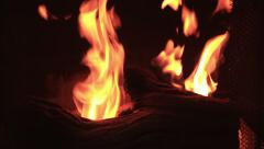 4K, UHD, Flame of fireplace inside of home, BlackMagic 4K Production Camera Stock Footage