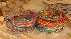 Closeup of cables at home Stock Footage