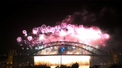 New years eve fire works sydney- 4K Stock Footage
