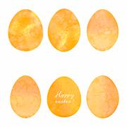 Set of watercolor eggs. Easter design elements. Stock Illustration