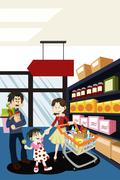 family shopping grocery - stock illustration