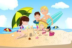 Beach family vacation Stock Illustration
