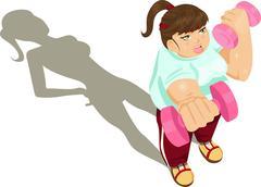 overweight girl exercising - stock illustration