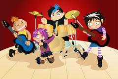 Rock band of four little kids Stock Illustration
