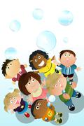 children playing bubbles - stock illustration