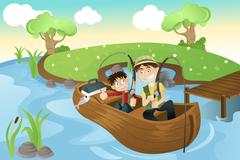 Father and son going fishing Stock Illustration
