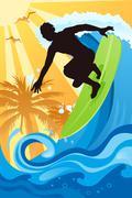 Surfer in the ocean Stock Illustration