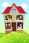 Family at home Stock Illustration