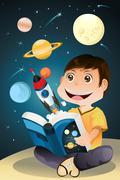 Boy reading astronomy book Stock Illustration