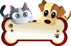dog and cat with banner - stock illustration