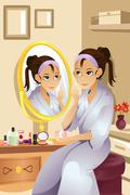 Woman applying makeup Stock Illustration