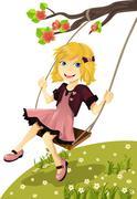 Girl on a swing Stock Illustration