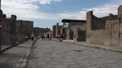 Naples Italy Pompeii tourist crowd ancient road 4K 036 Stock Footage