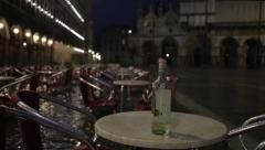 Climate Change: St Mark's square underwater in Venice, Italy, night high tide Stock Footage