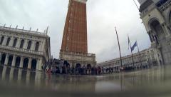 Rising sea levels: St Marks Venice timelapse high tide flooding rises - stock footage