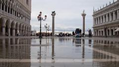 Global Warming: St Mark's Venice time-lapse high tide flooding sea level rise - stock footage