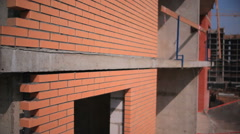 Construction. Brick house .Aerial shots Stock Footage